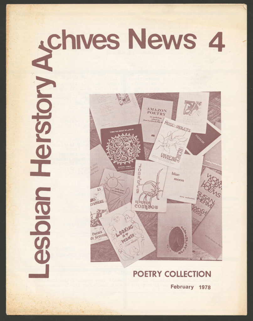 The front of an LHA newsletter dated February 1978. The subject is Poetry Collection.