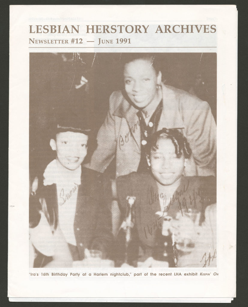 """The front of an LHA newsletter dated June 1991. The cover features a photograph of three Black women. The caption reads """"Ira's 16th Birthday Party at a Harlem nightclub, part of the recent LHA exhibit Keepin' On."""""""