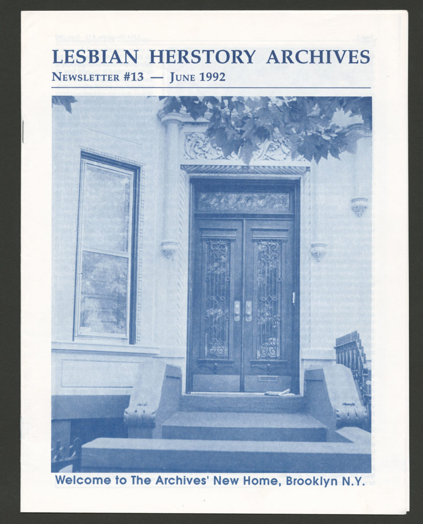 """The front of an LHA newsletter dated June 1992. There is a photograph of a building's doors and ornate entryway. """"Welcome to The Archives' New home, Brooklyn, N.Y."""