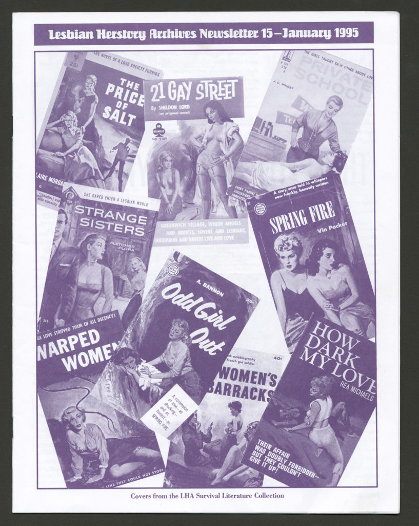 An LHA newsletter dated January 1995. The front is a collage of Lesbian pulp novel covers from the LHA Survival Literature Collection.