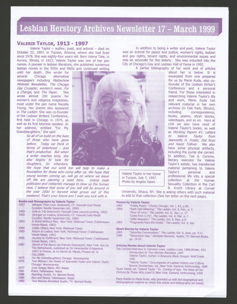 The front of an LHA newsletter dated March 1999. There is a photograph of a smiling Valerie Taylor.