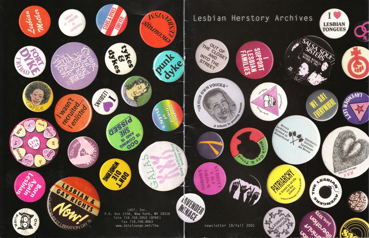 The front and back covers of an LHA newsletter dated fall 2001 feature a variety of Lesbian and Feminist themed pin-on buttons.