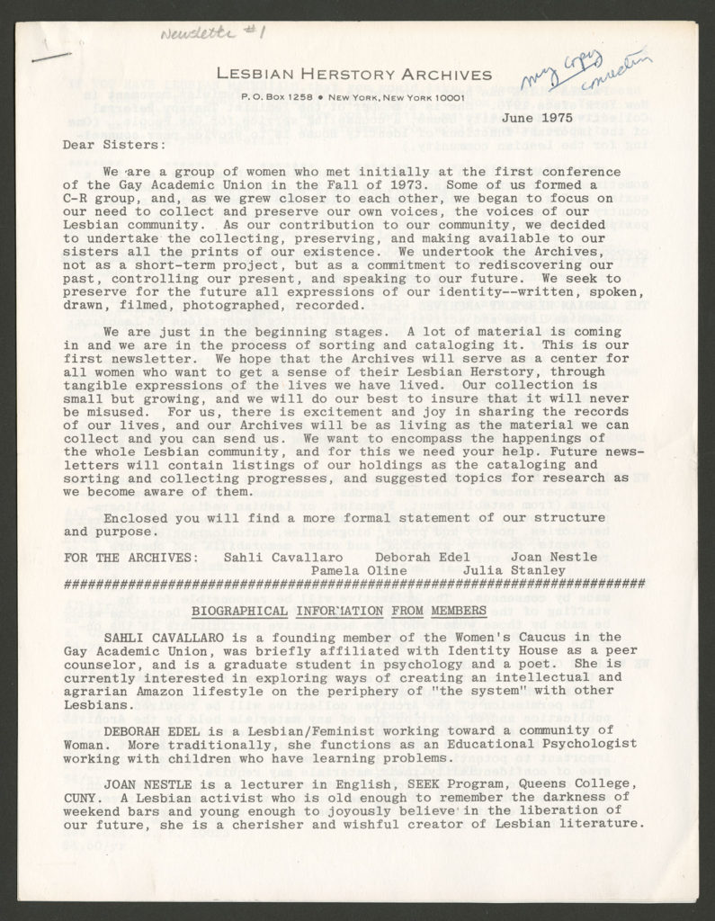 The front of an LHA newsletter dated June 1975. The pages are stapled together in one corner.