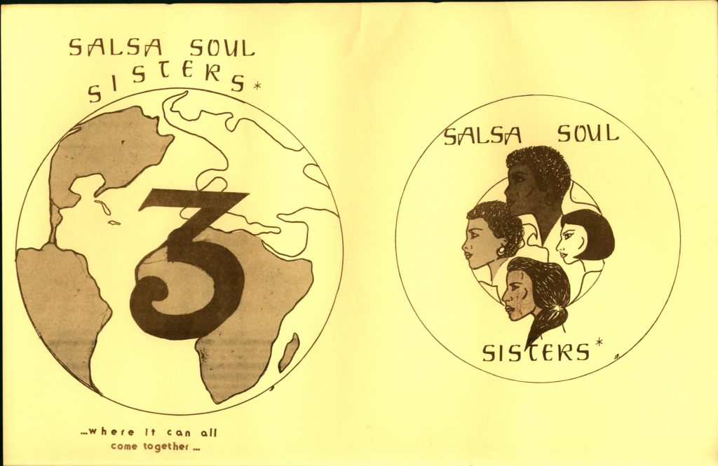 On the left of the graphic, a planet Earth is drawn with the numeral three in front of it. On the right, a drawing of four women's faces are drawn inside a circle.