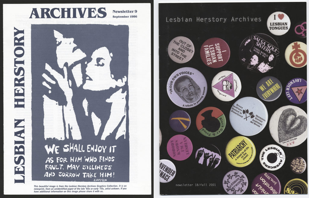 Side-by-side newsletter covers, one featuring a graphic of two Lesbians and one featuring a variety of pin-on buttons.