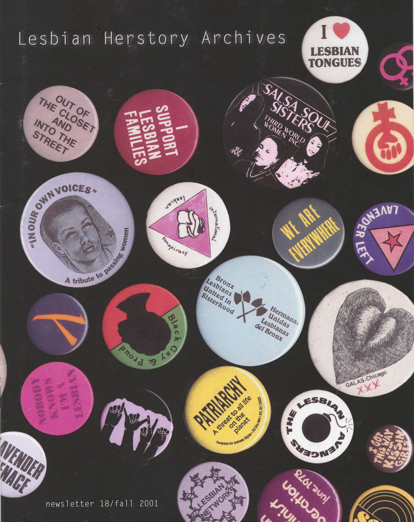 The cover of an LHA newsletter dated fall 2001 features a variety of Lesbian and Feminist themed pin-on buttons.