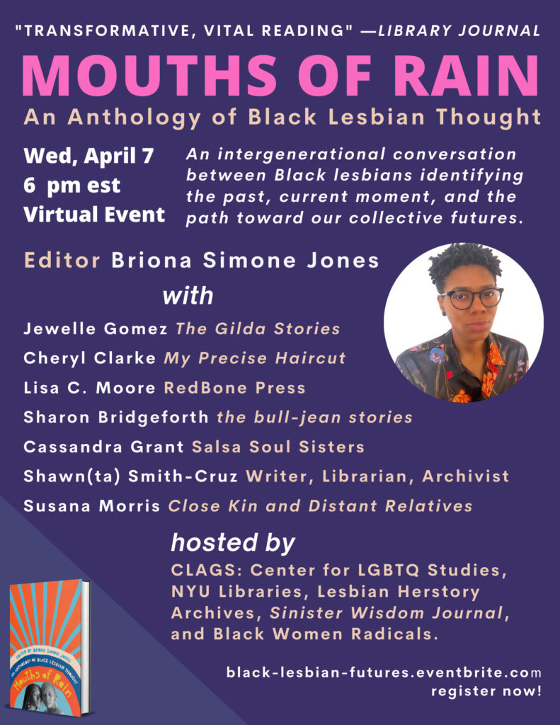 Flyer of Black Lesbian Futures event in purple background